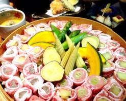 京もち豚(150g/1人)と夏野菜せいろ蒸しコース